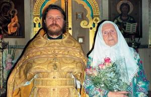 Анна Андреевна Абанина вдень своего 80-летнего юбилея со. Сергием