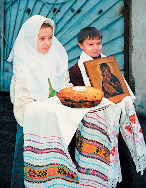 Встреча митрополита Алимпия накануне освящения храма (11декабря 1999г.)