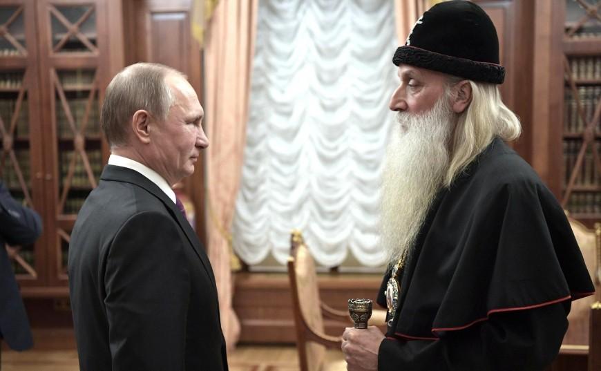 Митрополит Корнилий на официальной встрече с президентом РФ Владимирым Путиным